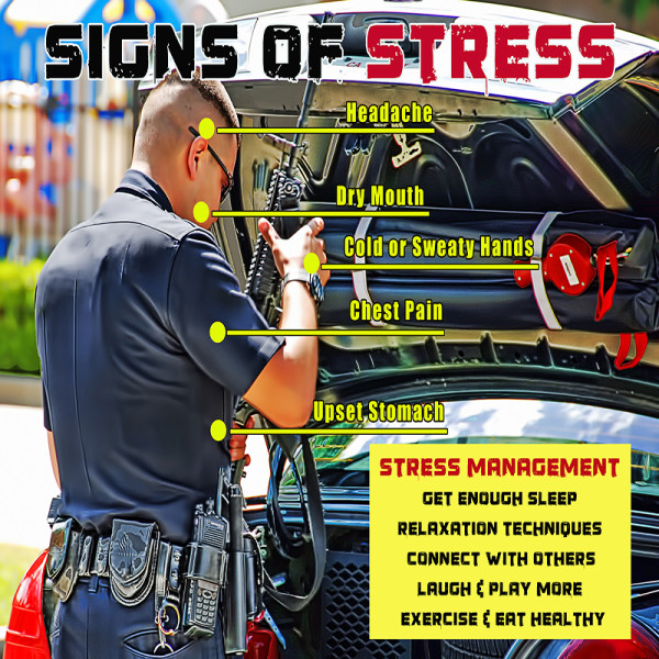 the effect of stress on police officers The daily psychological stresses that police officers experience in their work put them at significantly higher risk than the general population for a host of long-term physical and mental health effects.