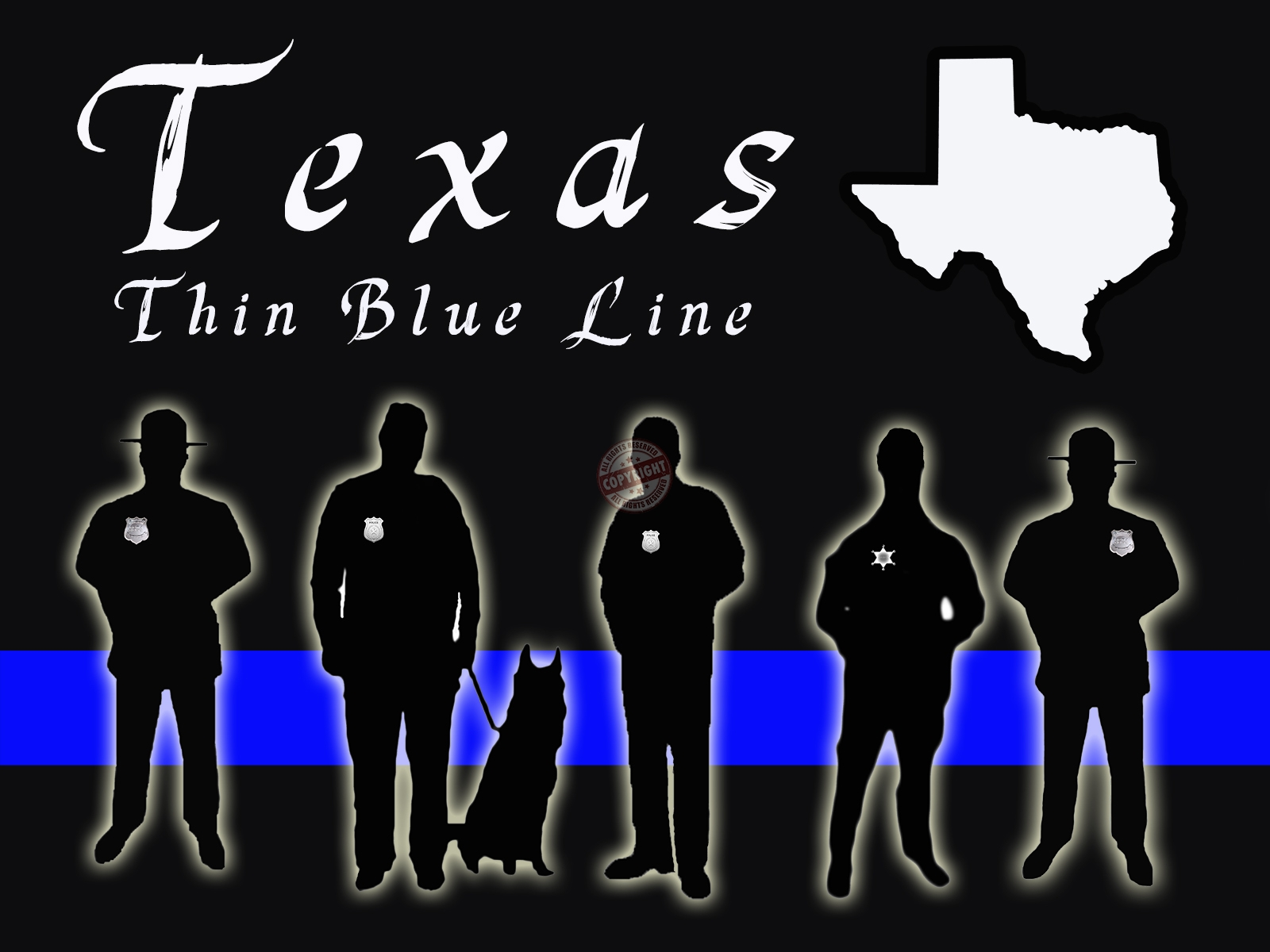 texas thin blue line poster